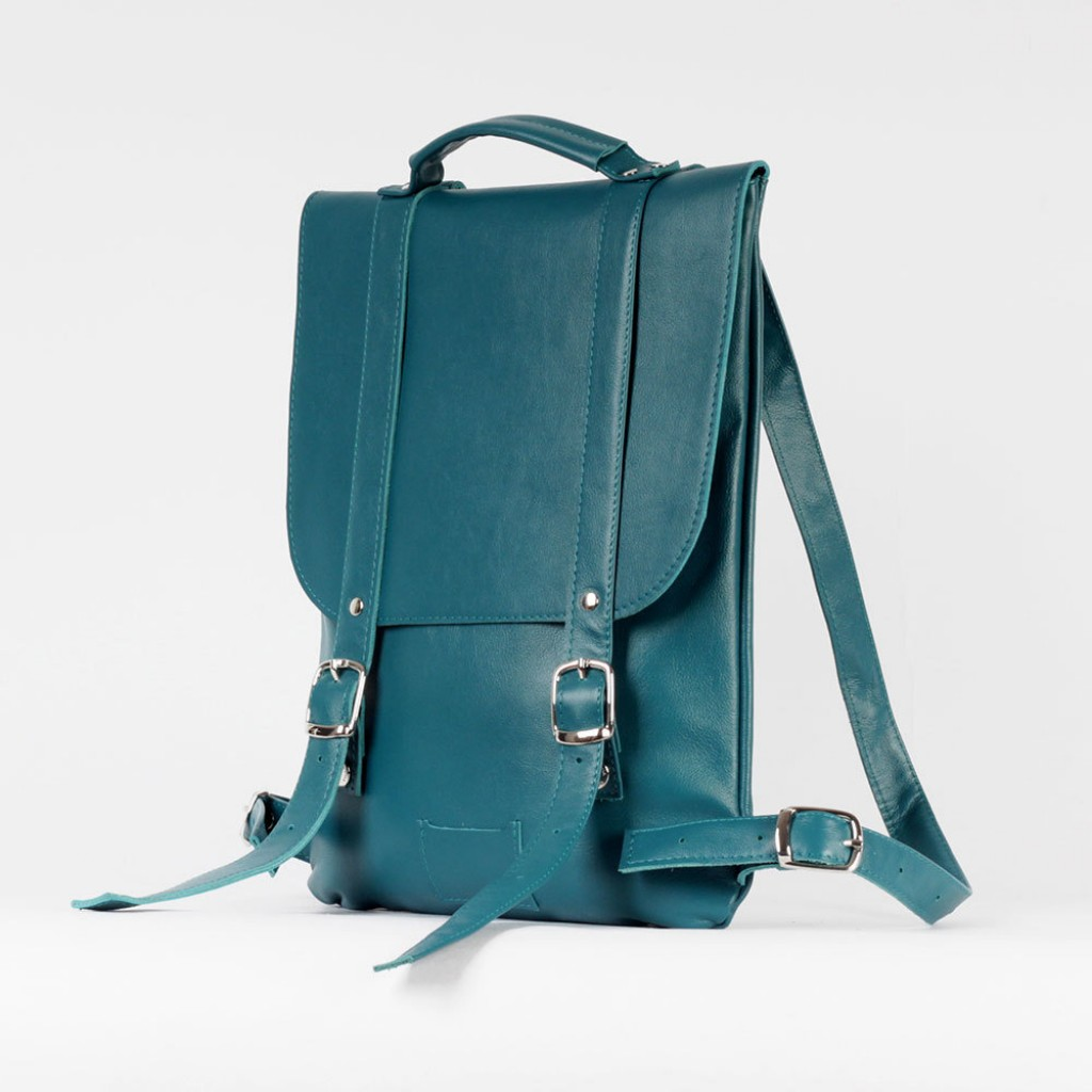Лазурный маленький рюкзак 2.0 из натуральной кожи