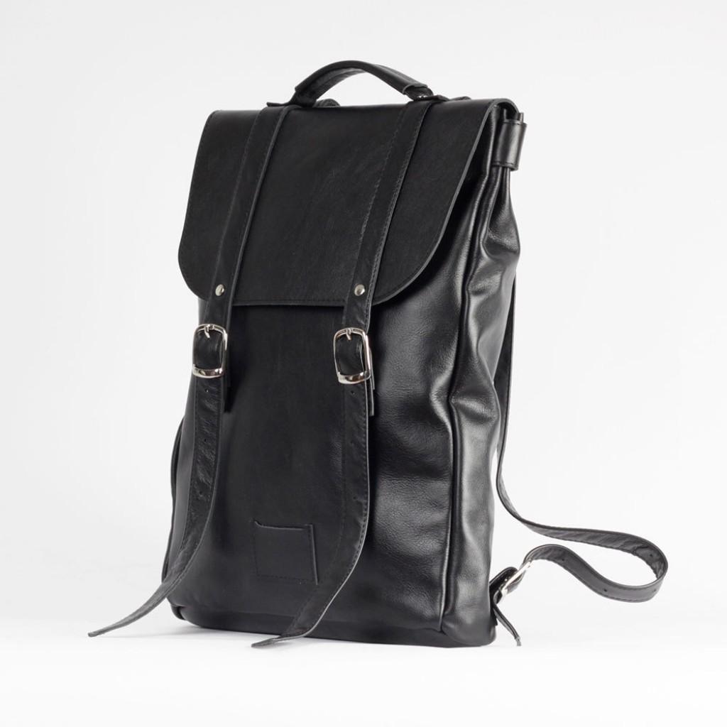 Черный средний рюкзак 2.0 из натуральной кожи