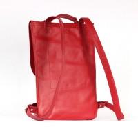 Красный маленький рюкзак 2.0 из натуральной кожи