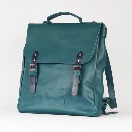 Лазурный рюкзак Satchel из натуральной кожи