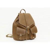 Большой кожаный рюкзак с косыми карманами - Бонита
