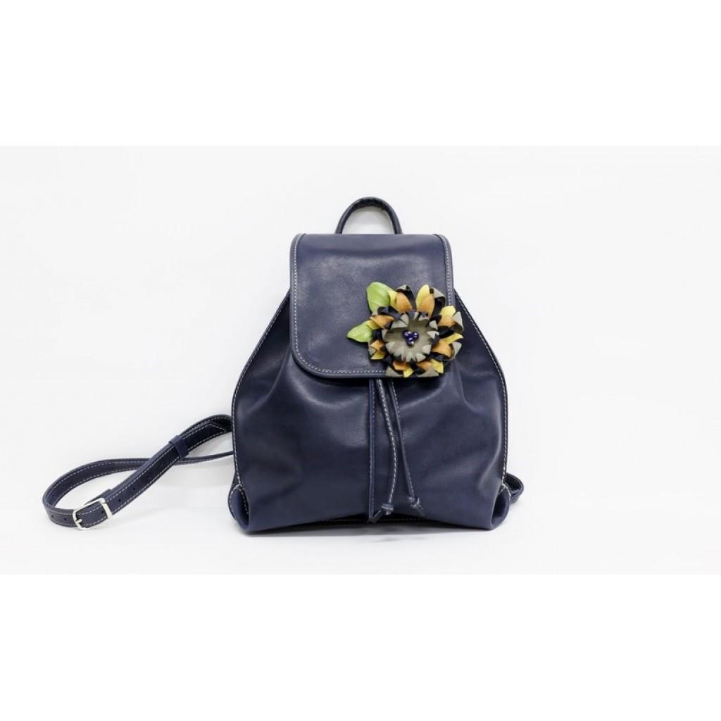 Кожаный женский рюкзак с цветком - Баттерфляй
